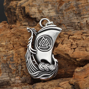 Viking Ship with Valknut Necklace