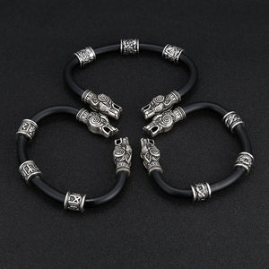 Wolf Head and Beads Bracelet