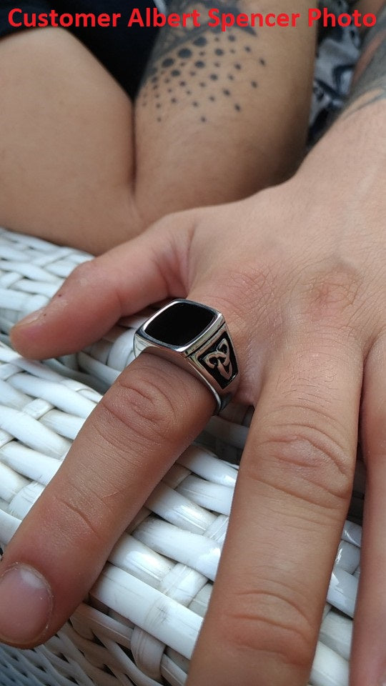 Black Stone Triquetra Ring