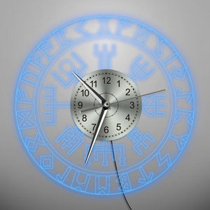 Viking LED Wall Clock with Runic Circle and Vegvisir Compass