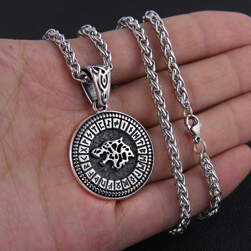 Wolf and Futhark Runes Necklace