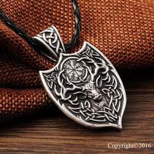 Deer and Vegvisir Compass Necklace