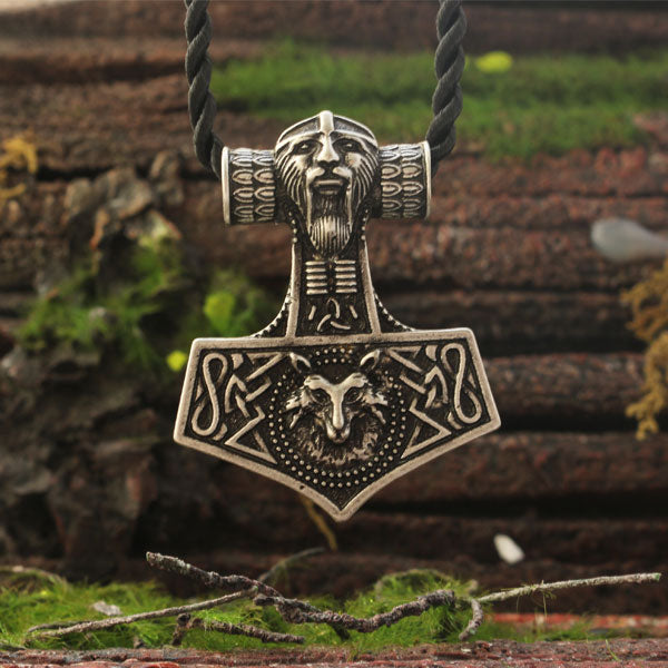 Thor & Wolf Mjolnir Necklace