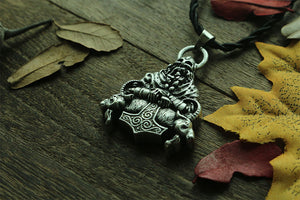 Thor's Mjolnir & Two Goats Necklace