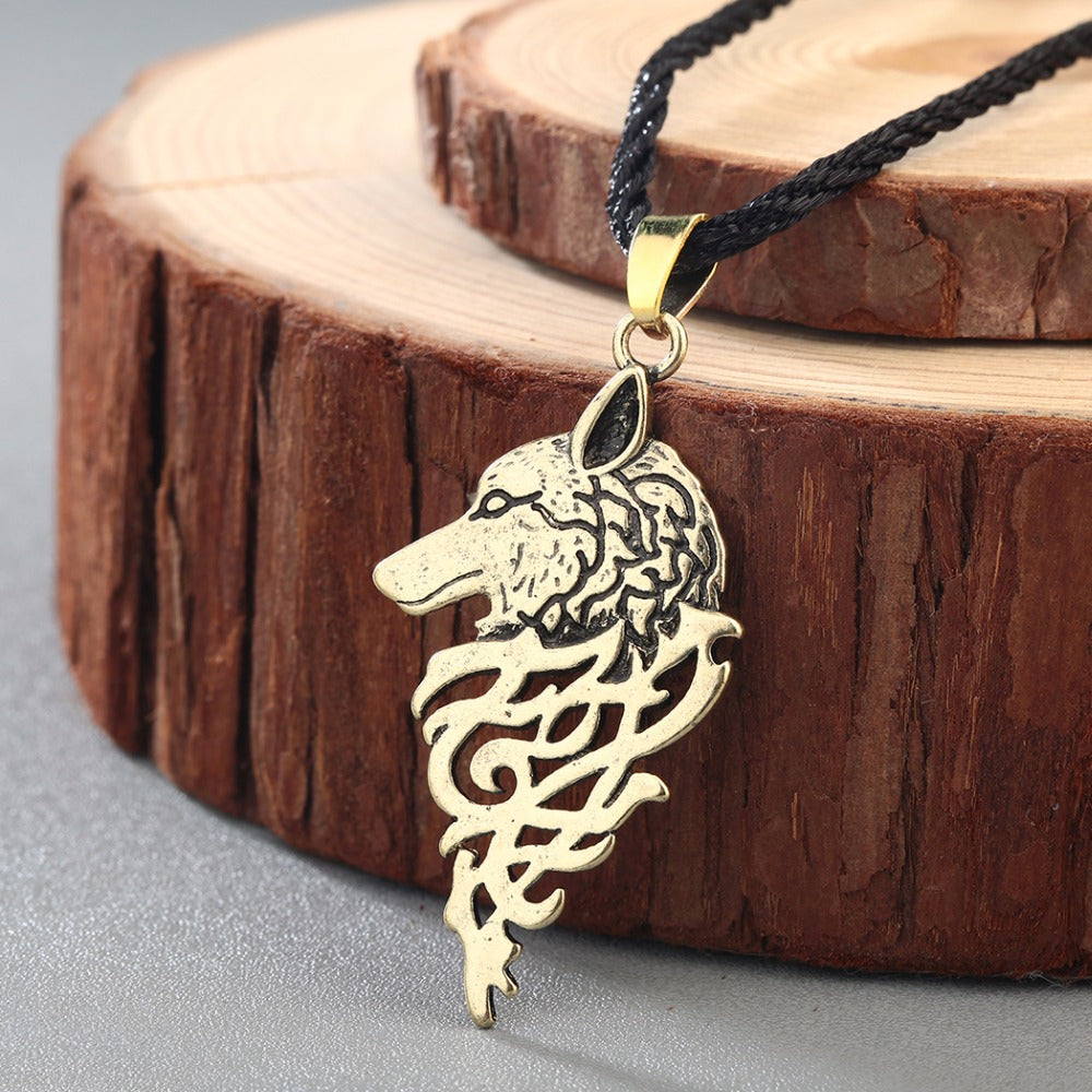 Stylised Wolf Head Necklace