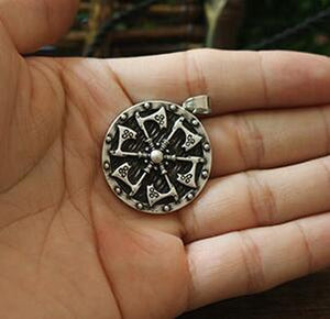 Double Sided Axes Shield Necklace