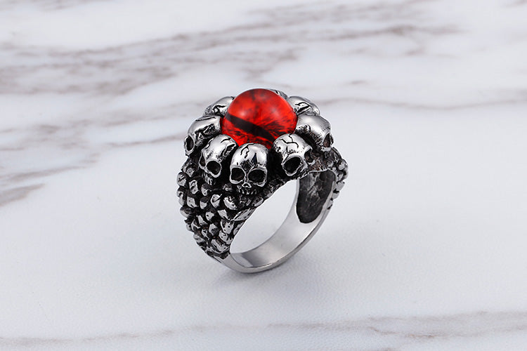 Red/Yellow Opal Skull Ring
