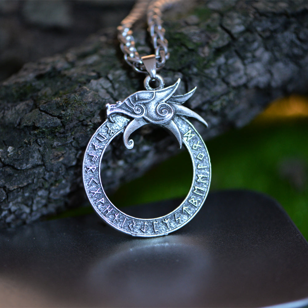 Ouroboros With Runes Necklace