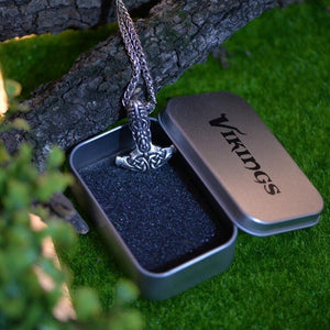 Viking Face Mjolnir Necklace