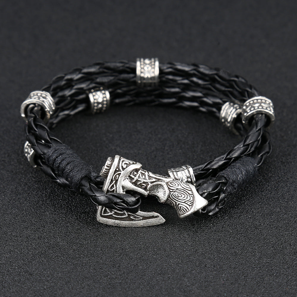 Norse Axe Leather Rope Bracelet