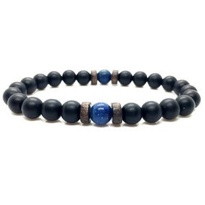 Natural Moonstone Beads and Lava Stone Bracelet