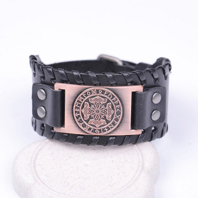 Mjolnir and Futhark Runes Leather Bracelet