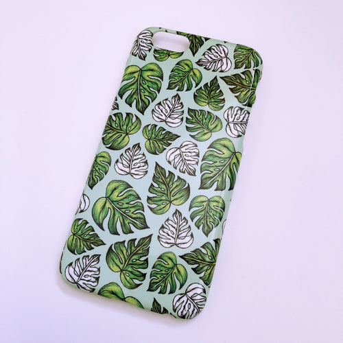 #0057 Mint leaf pattern iPhone 6/6S gloss finish case
