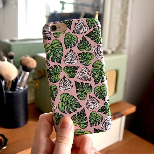 Leaf Pattern case in Pink