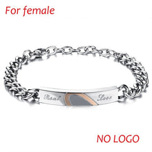 DIY Stainless Steel Couple Bracelets & Bangles Real Love Heart Bracelets For Women Men Lovers' Jewelry Engrave Logo Dropshipping