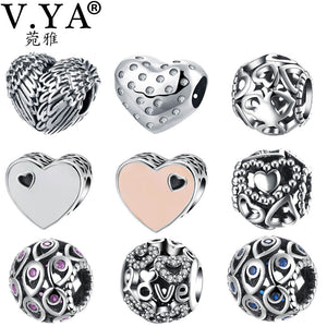 V.YA 925 Sterling Silver Charm Bead fit for Pandora Bracelet