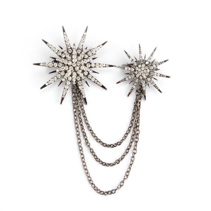 New Hot Fashion Women Crown Shape Silver Plated Studded Carved Brooch