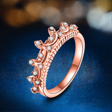 2017 New Fashion Gold Pretty Crown Lady Crystal Ring