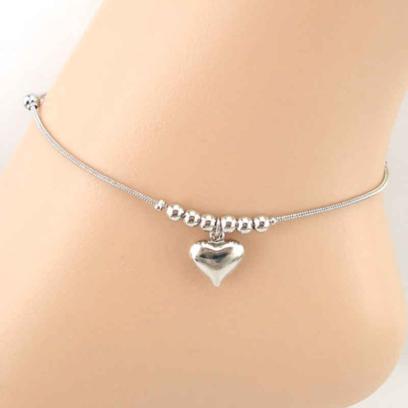 Heart-shaped Pendant Dolphins Anklet Bracelet Sandal Beach Foot Jewelry