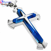 Men Stainless Steel Cross Pendant Necklace Chain
