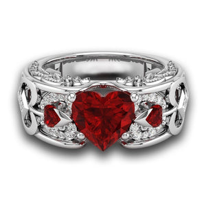 Silver Natural Ruby Gemstones Birthstone Heart Ring
