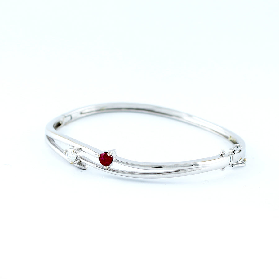 18K WHITE GOLD BANGLE (BA0000829)
