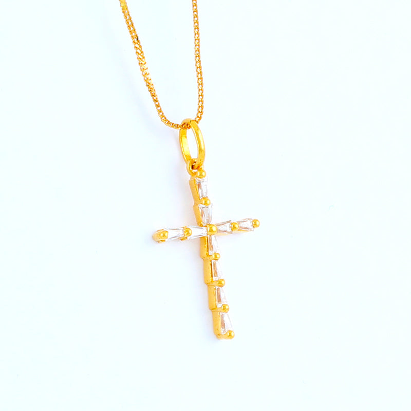 22KT YELLOW GOLD STONE STUDDED CROSS PENDANT (CR0000059)