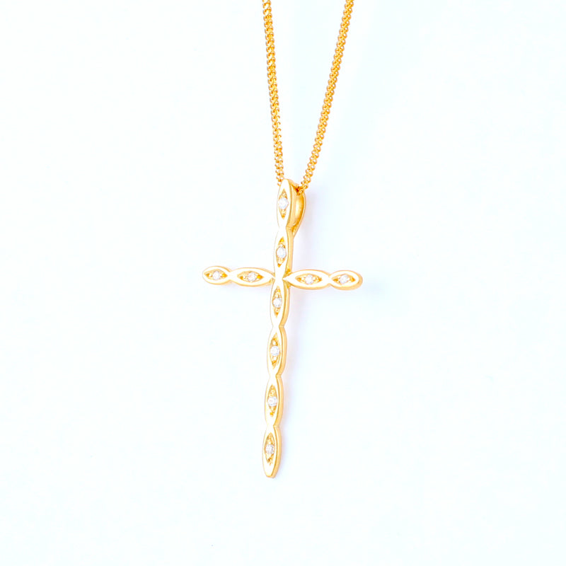22KT YELLOW GOLD STONE STUDDED CROSS PENDANT (CR0000060)