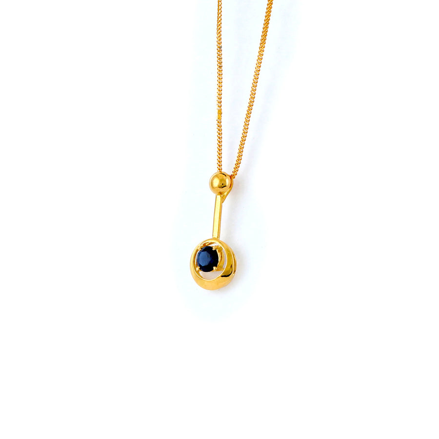 22KT YELLOW GOLD STONE STUDDED PENDANT (PE0001557)