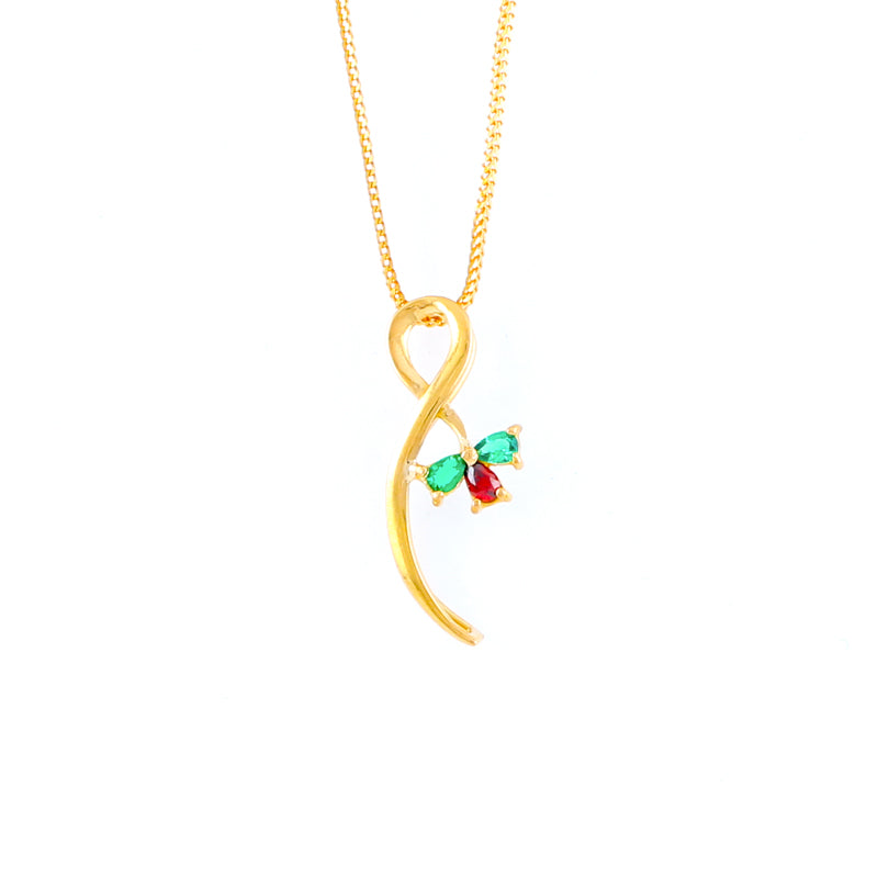 22KT YELLOW GOLD STONE STUDDED LADIES PENDANT (PE0001680)