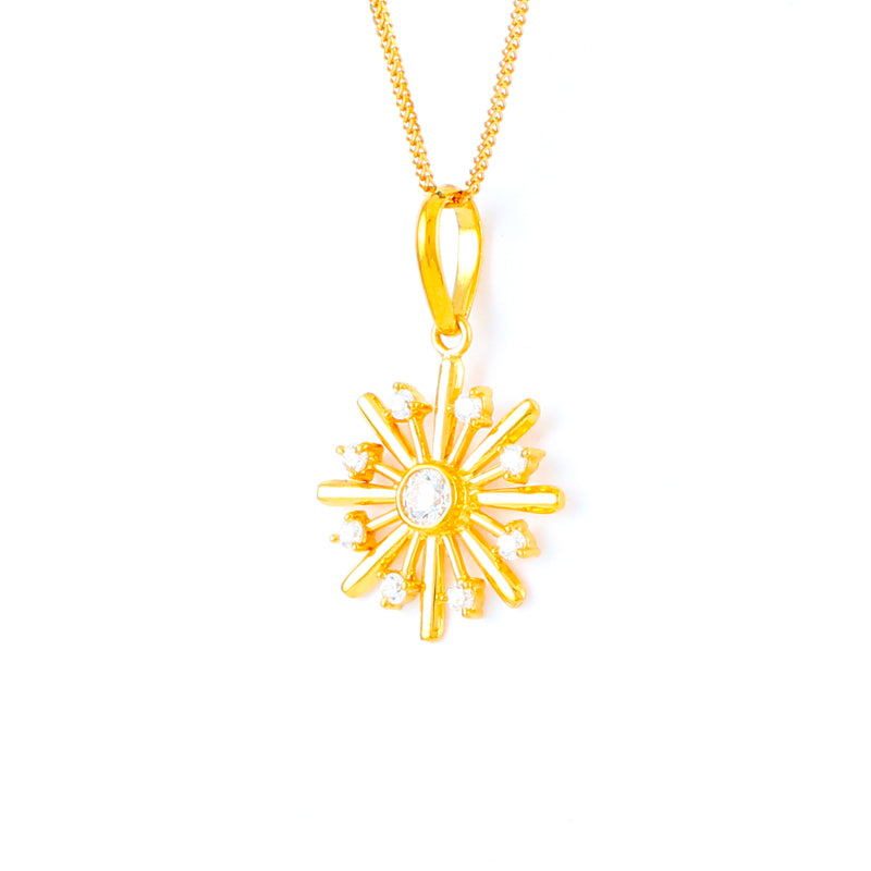 22KT YELLOW GOLD STONE STUDDED LADIES PENDANT (PE0001681)