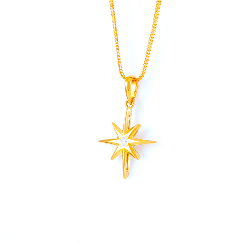 22KT YELLOW GOLD STONE STUDDED PENDANT (PE0001687)