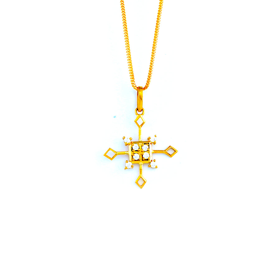 22KT YELLOW GOLD STONE STUDDED PENDANT (PE0001688)