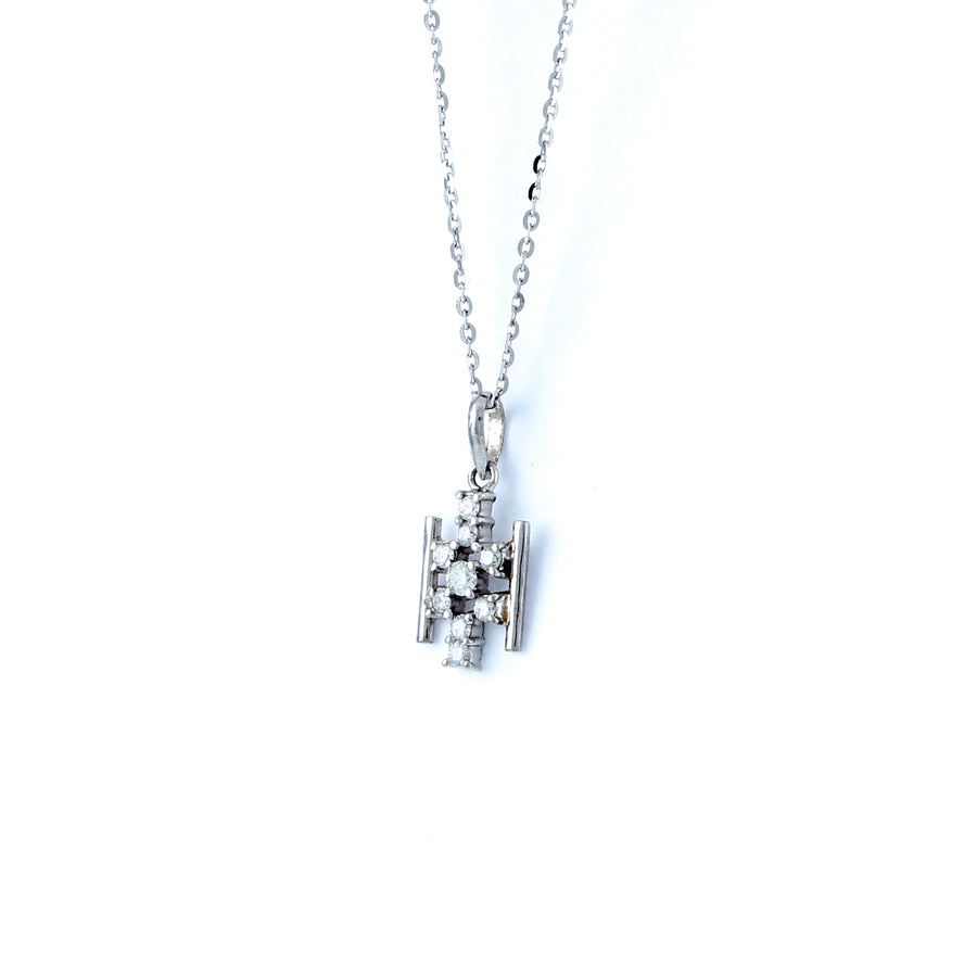 18KT WHITE GOLD DIAMOND PENDANT (PE0001747)