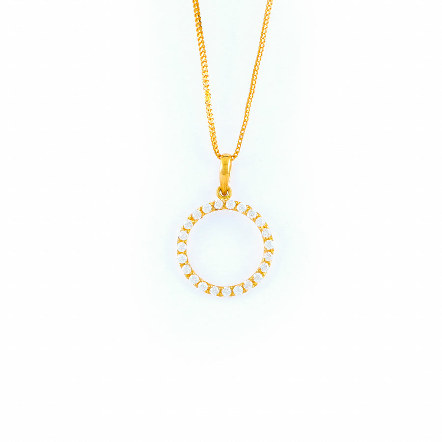 22KT YELLOW GOLD STONE STUDDED PENDANT (PE0001778)