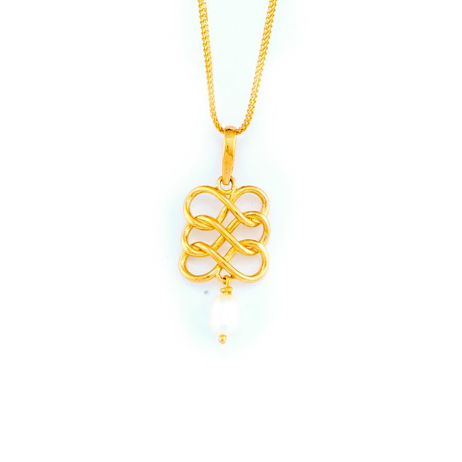 22KT YELLOW GOLD STONE STUDDED PENDANT (PE0001794)