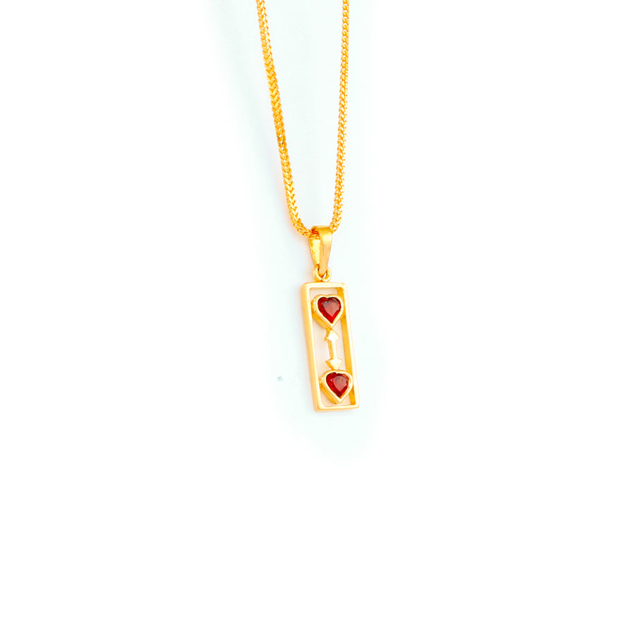 22KT YELLOW GOLD STONE STUDDED PENDANT (PE0001799)