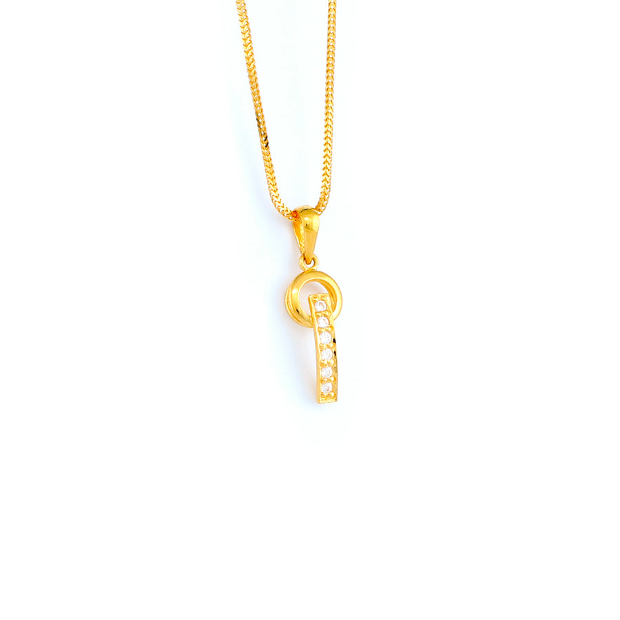 22KT YELLOW GOLD STONE STUDDED PENDANT (PE0001800)