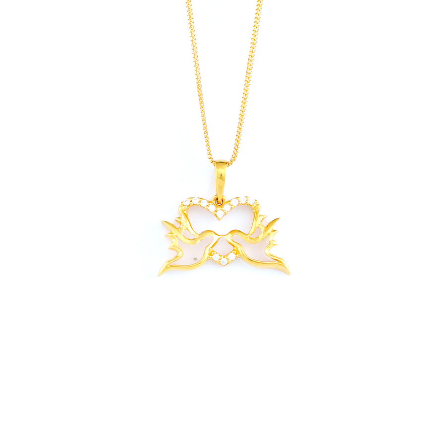 22KT YELLOW GOLD STONE STUDDED PENDANT (PE0001804)