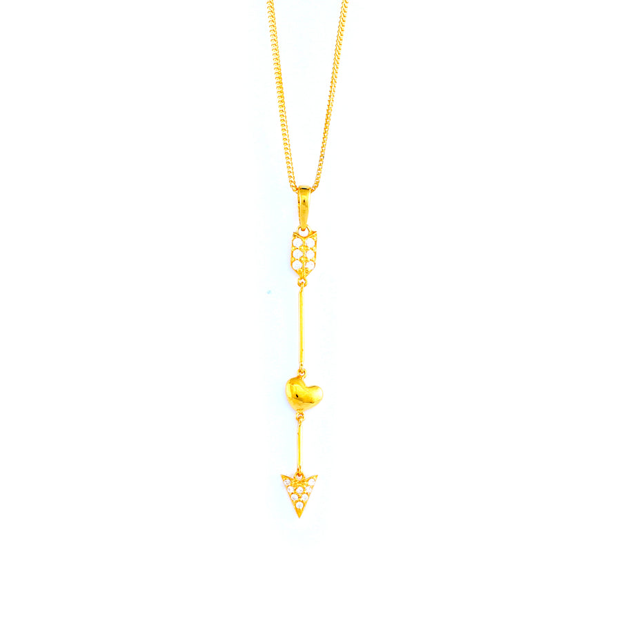 22KT YELLOW GOLD STONE STUDDED PENDANT (PE0001805)