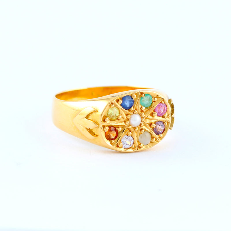 22KT YELLOW GOLD NAWARATHNA RING (RI0000447)