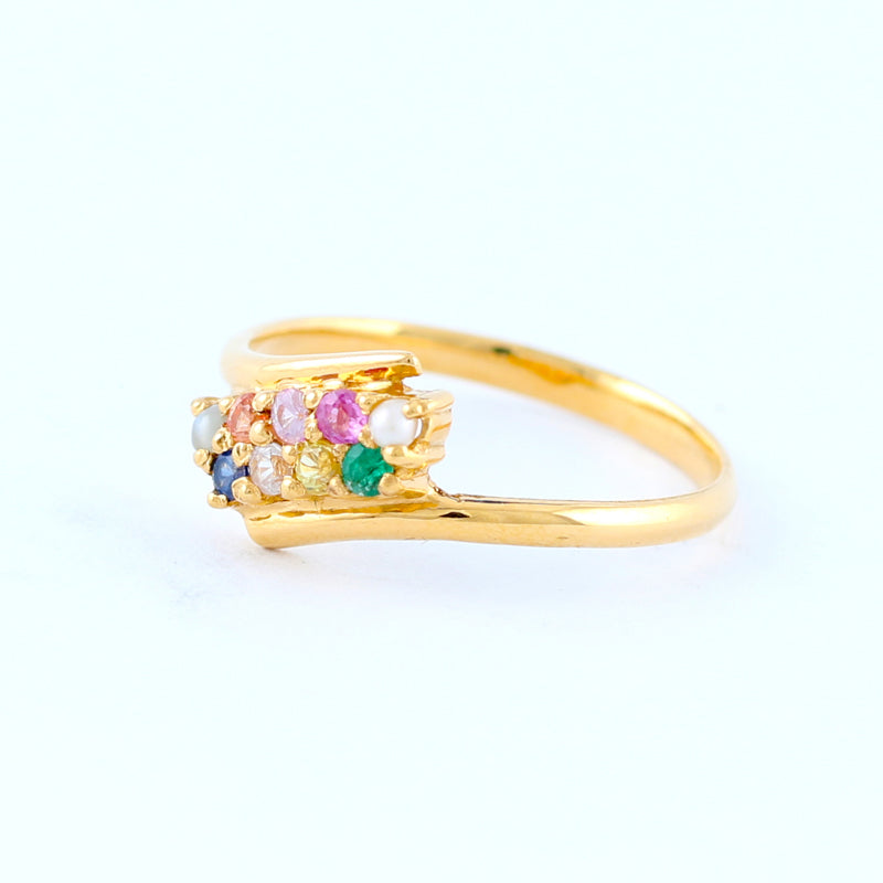 22KT YELLOW GOLD LADIES NAWARATHNA RING (RI0000680)