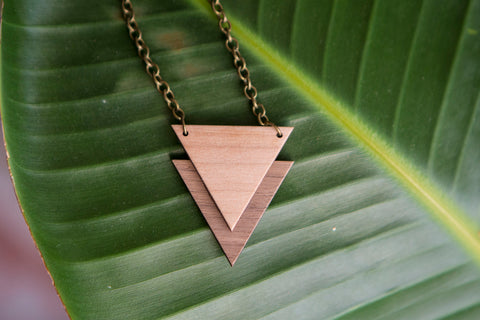 Wooden Triangle Necklace - Unisex