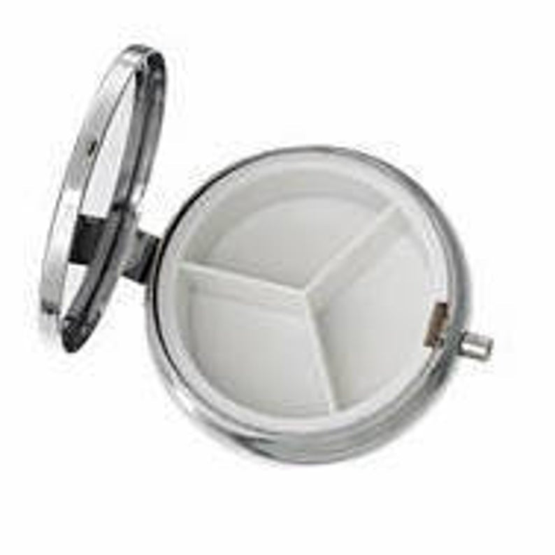 Medic Pill Box Round With Mirror White