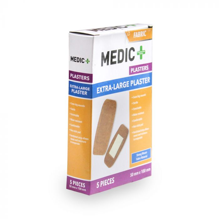 Medic Plaster Fabric 50x100mm Xlrg 5's