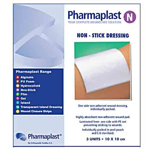 Pharmaplast Non Stick Dress 10x10cm 3's