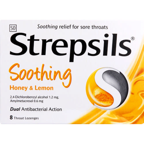 Strepsils Soothing Throat Lozenges Honey & Lemon Lozenges 8s