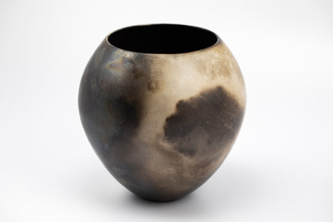 Coil built, smoke fired vessel by Bridget Johnson, available at Padstow Gallery, Cornwall