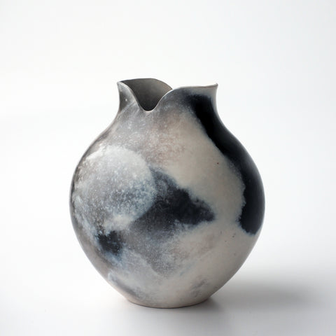Coil-built, smoke fired vessel by Bridget Johnson, available at Padstow Gallery
