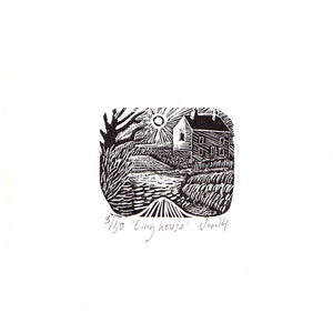 'Tiny House' wood engraving by Sam Marshall available at Padstow Gallery, Cornwall